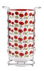 BERGNER - Sada misek + stojan 6 ks, 550 ml - bílá / červená