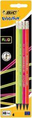 BIC - Fluo Evolution HB Tužka s gumou Neon 4ks