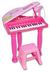 BONTEMPI - Dětské elektronické Grand piano se stoličkou a mikrofonem růžové 103071