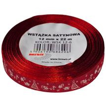BREWIS - Stuha atlasová - vánoční 12mm červená