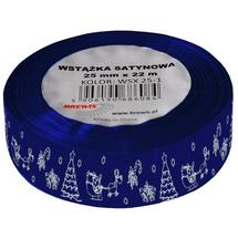 BREWIS - Stuha atlasová - vánoční 25mm modrá