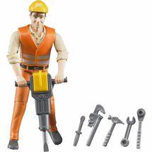 BRUDER - 60020 Bworld Figurka Stavební dělník s příslušenstvím