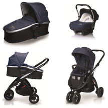 CASUALPLAY - Kočárek Kudu matt black, autosedačka Baby 0plus a vanička Newmoon 2014 - Jeans (959)