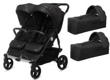 CASUALPLAY - Playxtrem  sportovní kočárek pro dvojčata a sourozence a 2 x přenosná vanička Baby Twin 2019 - Irongate (Black)