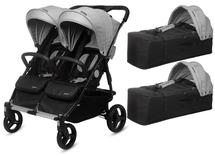 CASUALPLAY - Playxtrem  sportovní kočárek pro dvojčata a sourozence a 2 x přenosná vanička Baby Twin 2019 - Silver (Plata)