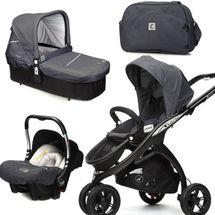 CASUALPLAY - Set kočárek Kudu 3 Black, autosedačka Baby 0plus, vanička Cot a Bag 2015 - METAL