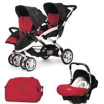 CASUALPLAY - Set kočárek pro dvojčata Stwinner, 2 x autosedačka Baby 0plus a Bag 2017 - RASPBERRY