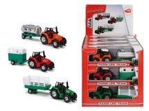DICKIE - Traktor Kovový S Přívěsem 18 Cm, Dp12, 3 Druhy
