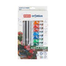 EASY - Akrylové barvy SET - 12 barev, 2 štětce, paleta