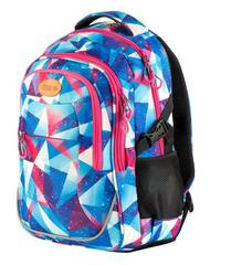 EASY - Batoh školní - sportovní - trojúhelníky - růžové zipy