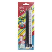 EASY - Set - 4 trojhranné tužky s gumou HB a ořezávátko