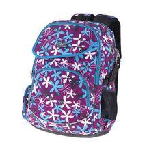 EASY - Batoh školní tříkomorový fialový, bílo-modré kytičky