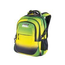 EASY - Batoh školní tříkomorový duhový zeleno-žlutý, profilovaná záda, 26 l