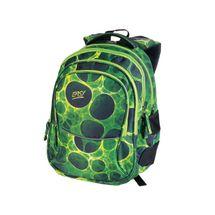 EASY - Batoh školní tříkomorový zeleno-černé kolečka, profilovaná záda, 26 l