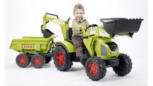 FALK - Šlapací traktor 1010W Claas Axos s nakladačem, vlečkou a rypadlem