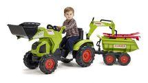 FALK - Šlapací traktor 1010WH Claas Axos s nakladačem, vlečkou a rypadlem