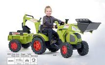 FALK - Šlapací traktor 1010 Claas Axos s nakladačem, rypadlem a vlečkou