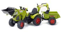 FALK - Šlapací traktor 1010Z Claas Axos s nakladačem, rypadlem a vlečkou
