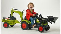 FALK - Šlapací traktor 2040N Claas Arion 410 s nakladačem, rypadlem a vlečkou