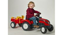 FALK - Šlapací traktor 2051C Ranch Trac červený s vlečkou a lopatkou s hrabičky