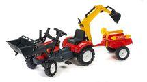 FALK - Šlapací traktor 2051CN Ranch Trac červený s nakladačem, vlečkou, rypadlem a lopatkou s hrabičky