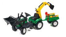 FALK - Šlapací traktor 2052CN Ranch Trac zelený s nakladačem, vlečkou, rypadlem a lopatkou s hrabičky