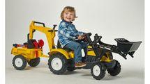 FALK - Šlapací traktor 2055CN Ranch Trac žlutý s nakladačem, vlečkou, rypadlem a lopatkou s hrabičky