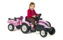 FALK - Šlapací traktor 2056C Princess růžový s vlečkou a lopatkou s hrabičky