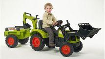 FALK - Šlapací traktor 2070 Claas Arion 430 s nakladačem, rypadlem a vlečkou