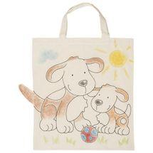 GOKI - Dětská Eko bavlněná taška k vybarvení, 38x42cm - Pejsek