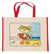 GOKI - Dětská Eko bavlněná taška k vybarvení,  39x31,5cm - Kočka