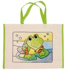 GOKI - Dětská Eko bavlněná taška k vybarvení,  39x31,5cm - Žabka