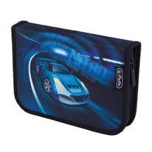 HERLITZ - Penál plátěný plný , 2 - chlopenní , Auto/modrý