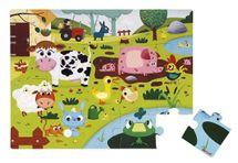 JANOD - J02772 Dotykové puzzle s texturou Zvířátka na farmě 20 dílků