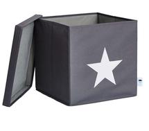 LOVE IT STORE IT - Box na hračky s krytem - šedý, bílá hvězda