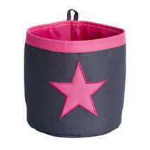 LOVE IT STORE IT - Malý úložný box, kulatý - šedý, růžová hvězda