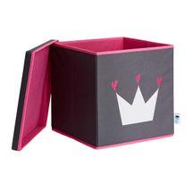 LOVE IT STORE IT - Úložný box na hračky s krytem - šedý, bílá koruna