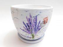 MAKRO - Květináč s miskou keramický 13cm LEVANDULE