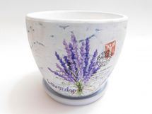 MAKRO - Květináč s miskou keramický 16cm LEVANDULE