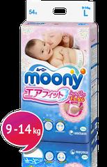 "MOONY - Dětské pleny Air Fit ""L"" (9-14kg) 54 ks."