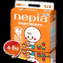"NEPIA - Dětské pleny s páskou Tape ""S"" (4-8kg) 72 ks"