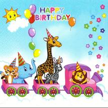 POL-MAK - Papírové ubrousky Happy Birthday Train