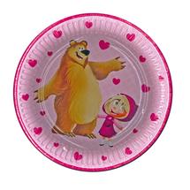 POL-MAK - Papírové talíře Máša a medvěd - 8 kusů - velké