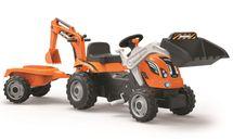 SMOBY - Šlapací traktor Builder Max s bagrem a vozíkem oranžový