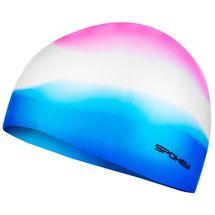 SPOKEY - ABSTRACT-Plavecká čepice silikonová růžovo-bílo-modrá