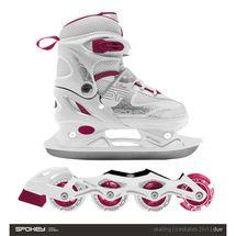 SPOKEY - DUE 2IN1 Brusle bílo-růžové, regulovatelné, vel. 30-33