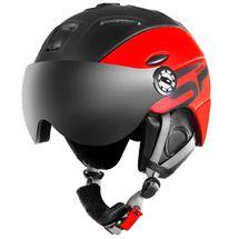 SPOKEY - MONTANA lyžařská přilba s vyměnitelným čelním sklem, černo-červená, vel. L/XL
