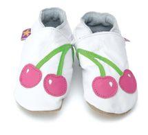 Starchild - Kožené botičky - Cherry Baby White - velikost S (0-6 měsíců)