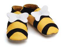 Starchild - Kožené botičky - Bee Yellow - velikost S (0-6 měsíců)