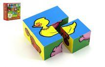 TEDDIES - Kostky kubus Moje první zvířátka dřevo 4ks v krabičce 8,5x8,5x4cm